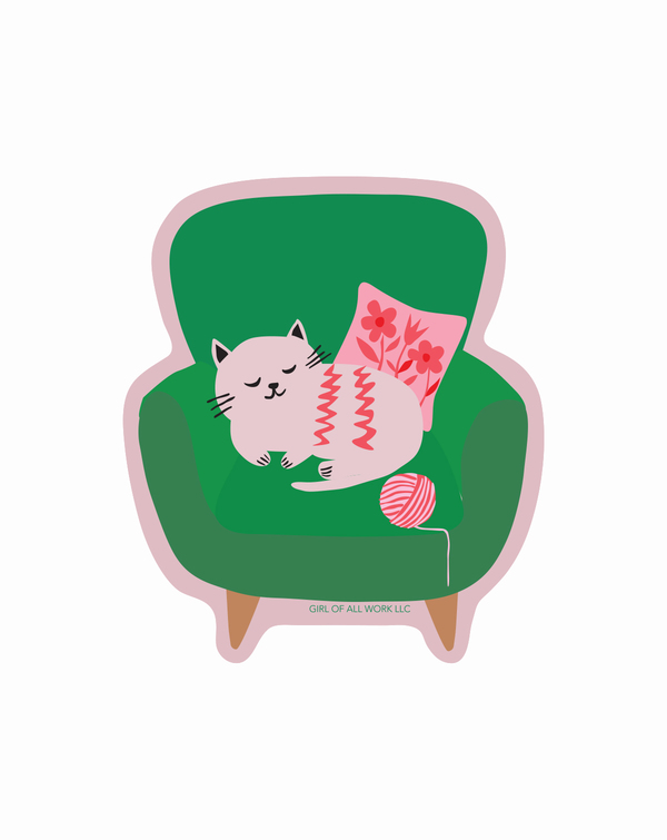 Armchair Cat Vinyl Sticker